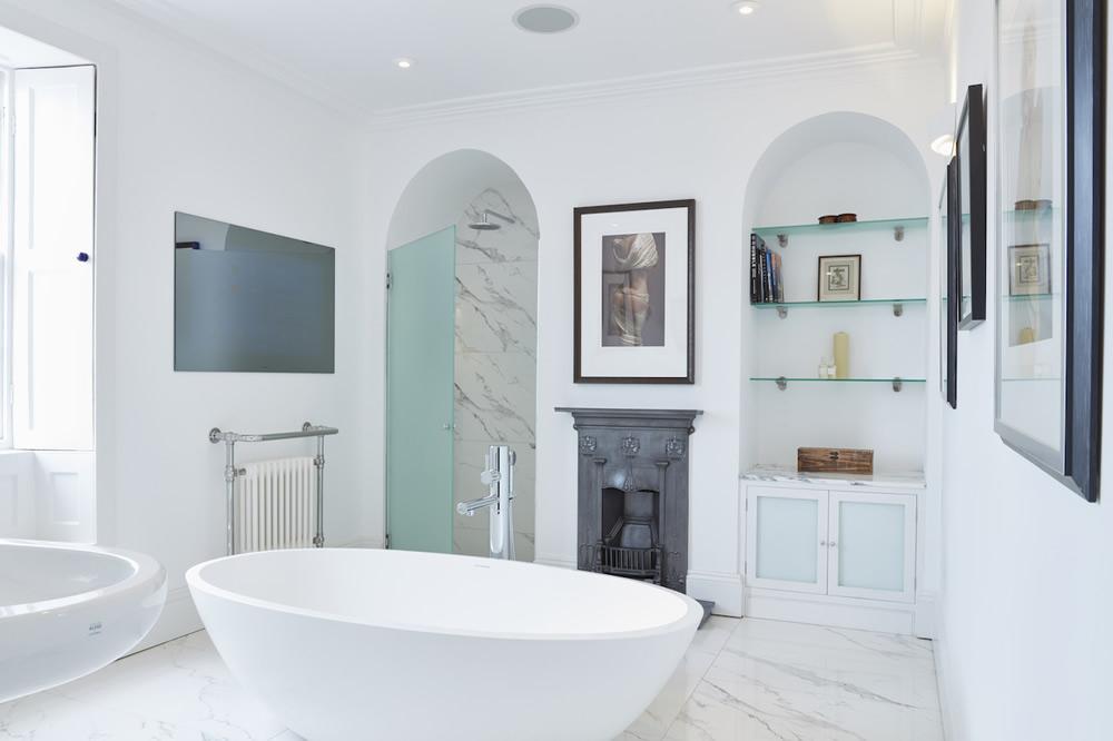 Elegant, light bathroom for private client